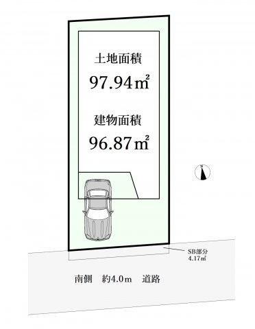 1LDK+2S(納戸)、土地面積97.94m2、建物面積96.87m2 南側道路に面した整形地 陽当り良好です♪♪