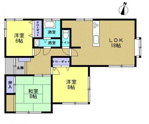 3LDK 生活しやすい平屋建て、お掃除や家事もしやすいですよ。