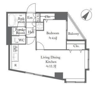 7階の開放的な1LDKの角部屋、新規内装リノベーション済です
