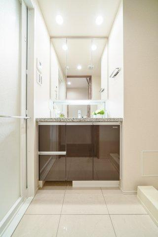 収納も兼ね備えた洗面台