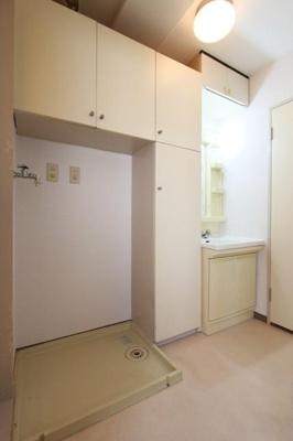 収納が豊富な室内洗濯機置き場