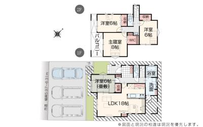 【区画図】うるま市石川東山本町(全2棟)