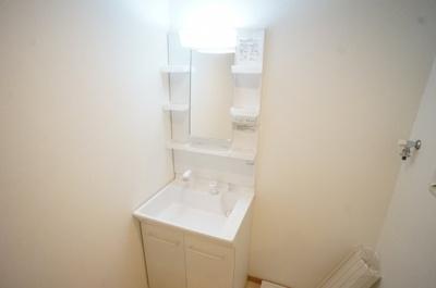 独立洗面台と洗濯機置き場が並んでいる使いやすい間取り。