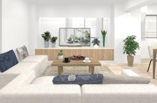 広々LDKは約16帖、エアコンとオシャレな家具付のお部屋です