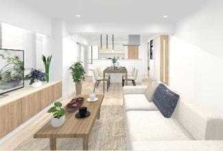 全室フローリングの爽やかな室内、キッチンはアイランド型です
