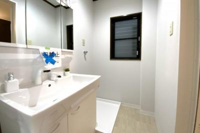 洗面化粧台はシャンプーが出来るタイプを新調ご用意しています。怪我などで入浴できない時は助かりますね。