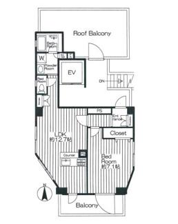 最上階は1フロア1住戸の開放感、広々ルーフバルコニー付です