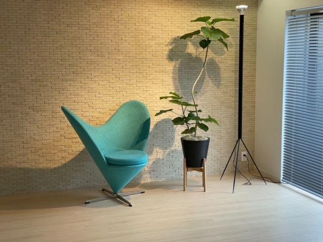 反対側の壁のデザインクロスもとてもお洒落♪ 何もせずにゆったりと椅子に座っていたくなるような、落ち着いたお部屋です