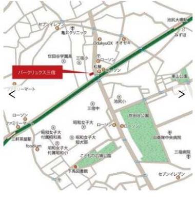 【地図】パークリュクス三宿 2人入居可能 独立洗面台 バストイレ別 宅配BOX