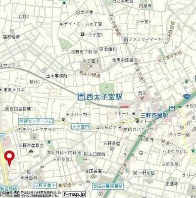 【地図】レグノ・スイート三軒茶屋 分譲賃貸 オートロック 2人入居可