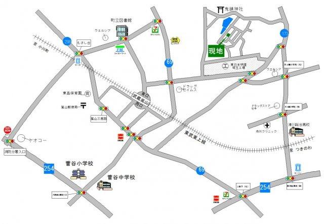 東武東上線「武蔵嵐山」駅徒歩約13分です