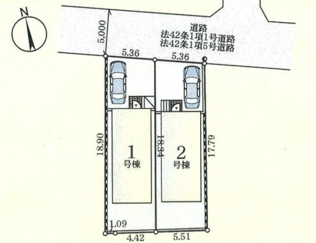 【区画図】仲介手数料無料 調布市上石原3丁目新築一戸建て
