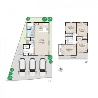 2階の居室の2部屋にロフトがある4LDKです。 山電「藤江」駅からは徒歩3分と便利な立地。