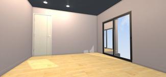 同社施工例 2階のリビングはカーテンを開け放しても気になりにくいです。 そのため採光が取りやすく明るいリビングとなっています。
