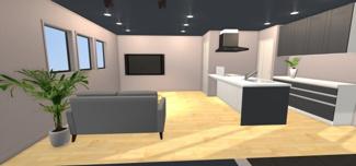 同社施工例 木目と壁面の色目、そしてダウンライトが落ち着いた空間を演出。