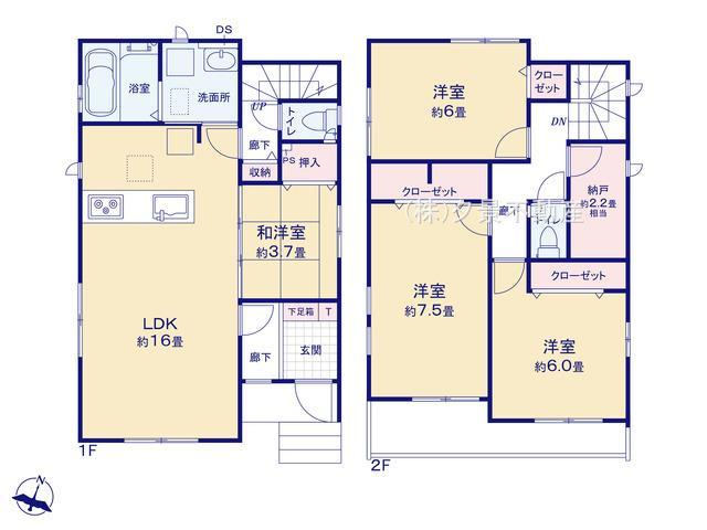【区画図】さいたま市浦和区針ヶ谷3丁目50-1(1号棟)新築一戸建てグラファーレ