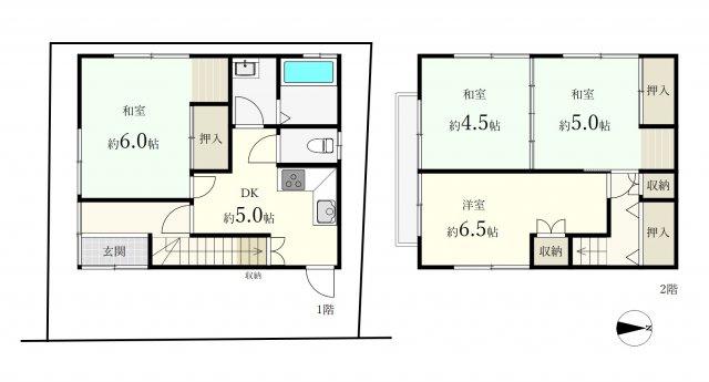 土地面積56.20㎡ 建物面積67.16㎡ 2階建 4DK