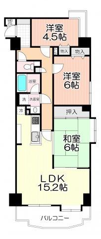LDK15.2帖、全居室収納スペース付、日当たり・眺望良好な3階部分のお部屋です。