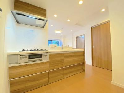 リノベーションで新設されたキッチン。コンロは3つ口。浄水器一体型シャワーヘッドの混合水栓。