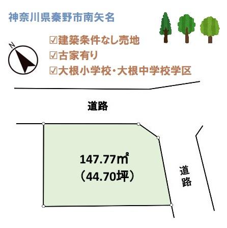 小田急線「東海大学前」駅徒歩19分 北東に面した角地にございます。建築条件なしの売地。