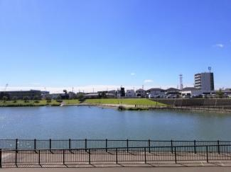 大相模調整池を臨む眺望