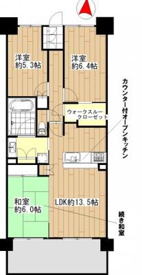 間取り図:3LDK+ウォークスルークローゼット 吉川新築ナビで検索