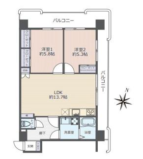 お部屋全体がバルコニーに囲まれた開放的な5階2LDKです