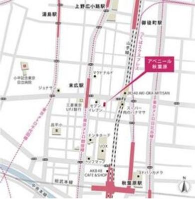 【地図】アベニール秋葉原