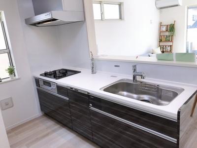 カラスタンダードのホーローキッチン、食洗い乾燥機・蛇口一体型浄水器付き