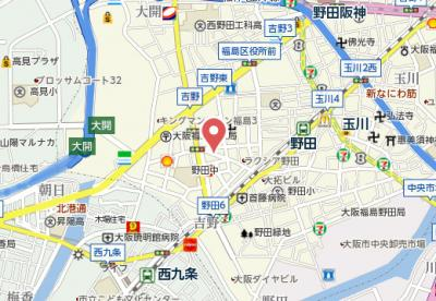 【地図】レジデンス福島Ⅱ