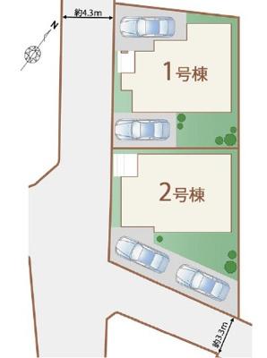 【区画図】うるま市石川東恩納Ⅲ【全2棟】1号棟