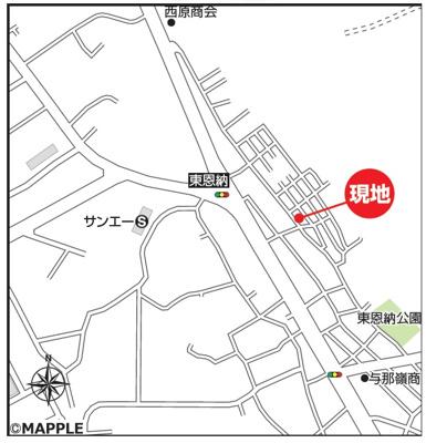 【地図】うるま市石川東恩納Ⅲ【全2棟】1号棟