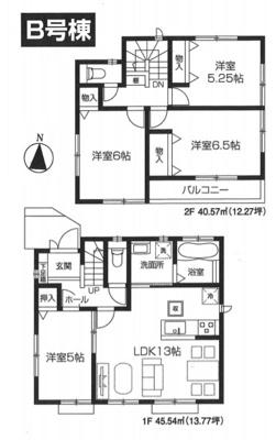 【全4棟・B号棟】土地面積83.49㎡(25.25坪)