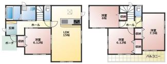 碧南市長田町新築分譲住宅B号棟間取りです。