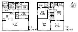 【間取り】秦野市横野全3棟 新築戸建 2号棟