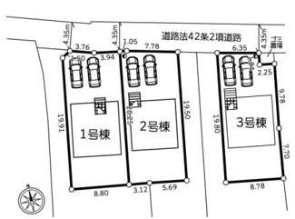 【区画図】秦野市横野全3棟 新築戸建 2号棟