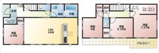 高浜市呉竹町2期新築分譲住宅2号棟間取です。