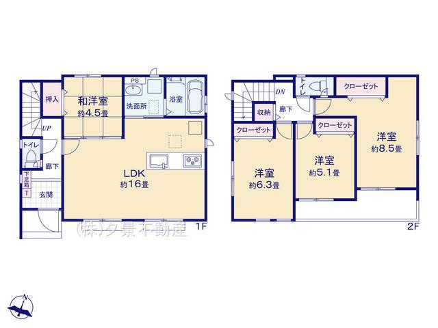 【区画図】さいたま市浦和区針ヶ谷3丁目50-1(2号棟)新築一戸建てグラファーレ