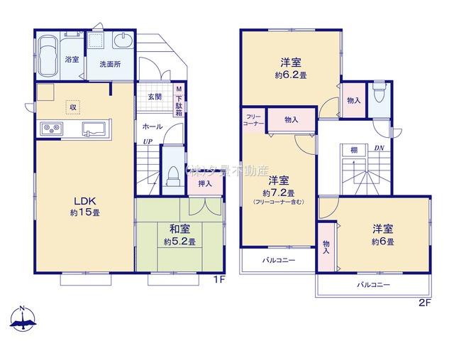 【区画図】川口市戸塚鋏町14(2号棟)新築一戸建てハートフルタウン