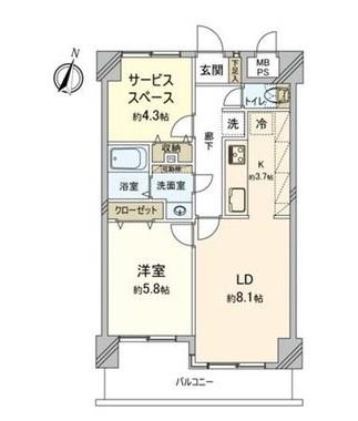 専有面積50.63平米、バルコニー面積8.17平米~納戸付1SLDK