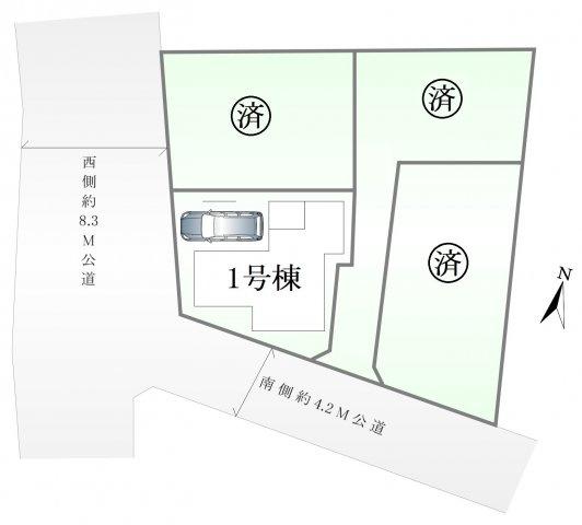 【区画図】足立区本木北町 全4棟 1号棟