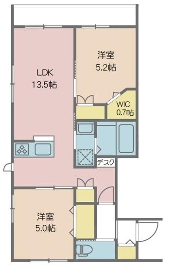 13.5帖LDKとエアコンも完備した洋室2部屋からなる2LDKのお部屋です。