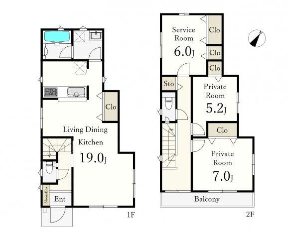 耐震+制震の地震に強い家   ~土地区画整理地内の開発分譲地~  開発道路6mの面した全8棟  多彩な間取りをご用意しております 6号棟 2LDK+S、土地面積114.97㎡、建物面積92.34㎡