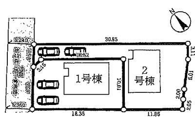 【区画図】草津市木川町 分譲2区画1号棟