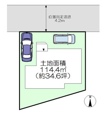 【区画図】所沢市山口・全1棟 新築一戸建 ~全居室洋室・リビング階段~