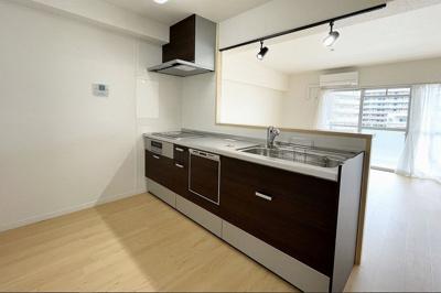 カウンターキッチンで会話も弾みますな!後ろには食器棚を設置できるスペース有り!