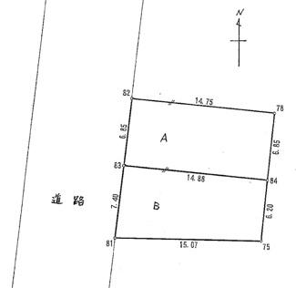 【土地図】平塚市横内 建築条件なし土地 A区画