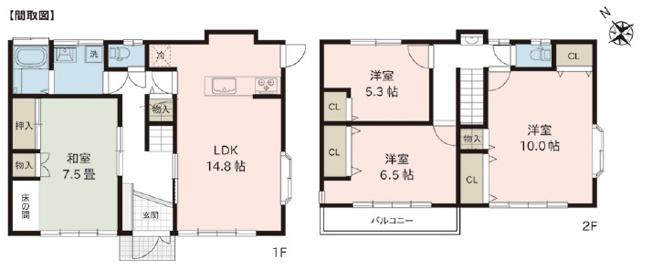 4LDK 玄関から直接出入りできる和室は『客間』として利用できます。急な来客にも対応できるのであると便利です。