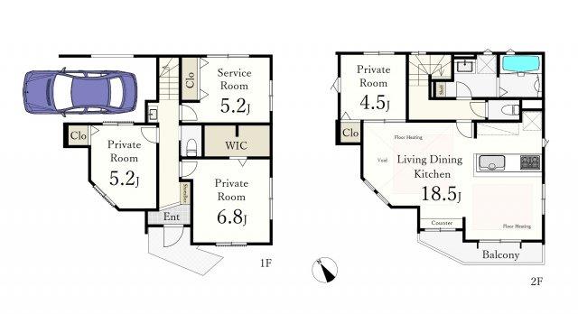 広々18.5帖のLDKは吹抜け天井仕様で開放感溢れる大空間♪ 土地面積89.84㎡ 建物面積106.54㎡ 2階建 3LDK+S