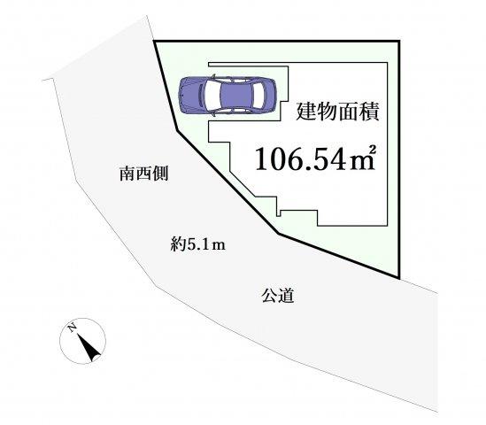 前面道路は広々5mで開放的 陽当り・通風も良好です